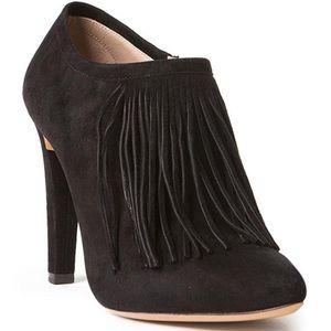 {Chloe} black suede fringe Daniela bootie heels!